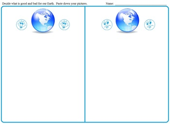 Earth Day Good and Bad for the Earth:  Worksheets, Morning Bell Work