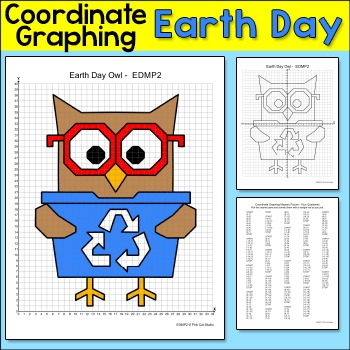 Earth Day Math Coordinate Graphing Ordered Pairs Mystery Picture: Recycling Owl