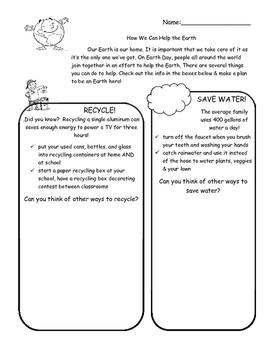 Earth Day Handout & Pledge