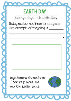Earth Day Handwriting Activity