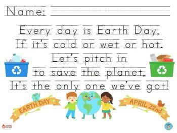 """Earth Day"" Handwriting Practice"