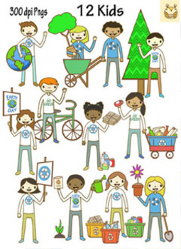 Earth Day Happy Kids Clip Art and Earth Day Clip Art Set