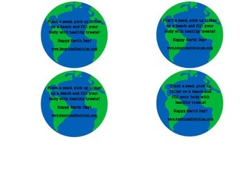 Earth Day Healthy Snack Label and Message