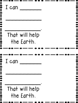 Earth Day Helping the Earth Emergent Reader & Writing Activity