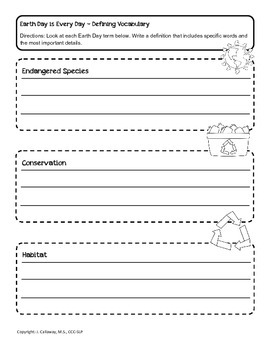 Earth Day ~ Higher Level Language Packet