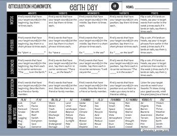 Earth Day Homework Calendar