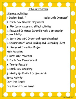 Earth Day, Hooray!  Literacy Stations, Math Stations, and Projects