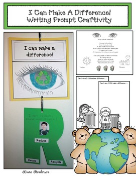 "Earth Day: ""I Can Make A Difference!"" Writing Prompt Craftivity"