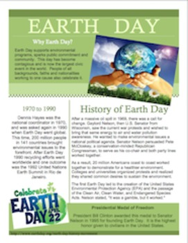 April 22nd Earth Day Informational Text with Questions (FREE)