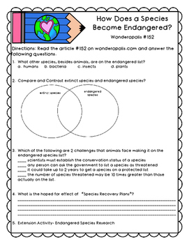 Earth Day Informational Text Activities