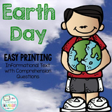 Earth Day Informational Text: Main Idea, Comprehension Questions, Facts