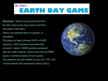 Earth Day Jeopardy Style Game