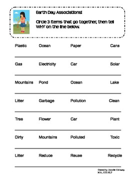 Earth Day Language Packet
