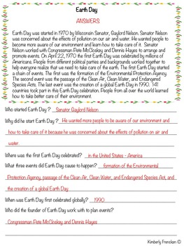 Earth Day: Learning how to read Non-Fiction, Passages & Printables