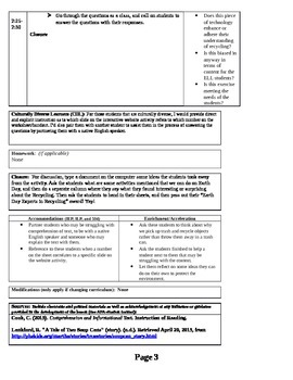 Earth Day Lesson Plan with Handouts