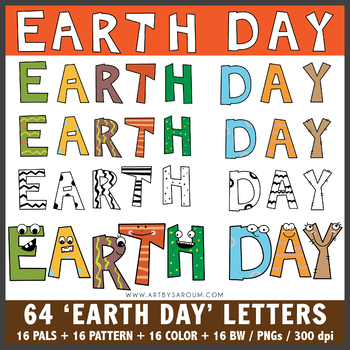 Earth Day Letters and Pals Clip Art