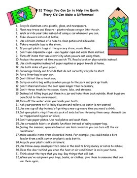 Earth Day List of Things Kids Can Do to Help the Earth