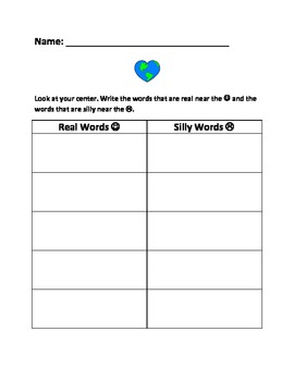 Earth Day Literacy Center: Real or Nonsense Words