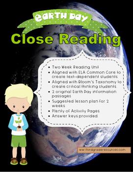Earth Day NO PREP Literacy Unit - ELA Common Core Aligned