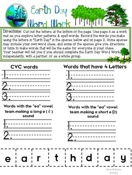 Earth Day Literacy Word Work FREEBIE