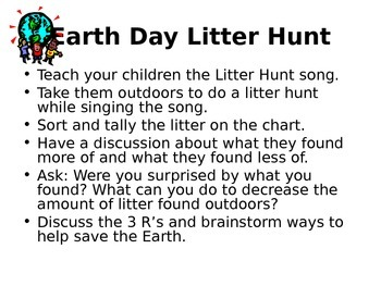 Earth Day Litter Hunt Song and Sorting Activity