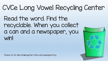 Earth Day Long Vowel Recycling Center