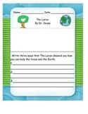Earth Day Lorax Writing Response
