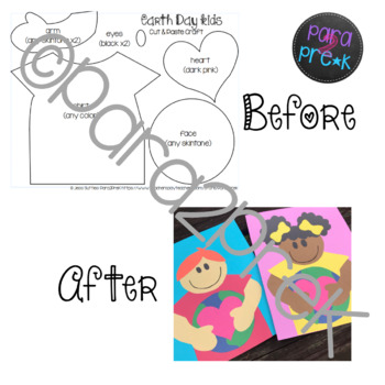 Earth Day Love Cut and Paste Craft Template