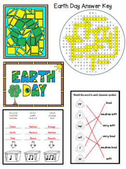 Earth Day MUSIC Sheets: dynamics, rhythms & tempo (FREEBIE in PREVIEW)