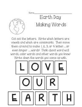 Earth Day Making Words--Love Our Earth
