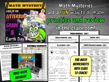 Earth Day Activity: Case of the Litterbug (Grade 5 Earth Day Math Mystery)