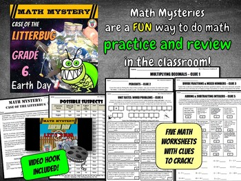 6th Grade Earth Day Activity: Case of the Litterbug (Earth Day Math)