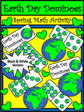 Earth Day Game Activities: Earth Day Dominoes Spring Math Activity - BW Version