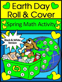 Earth Day Math Activities: Recycling Puppy Roll & Cover Spring Math Activity