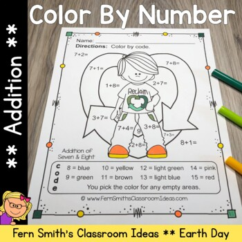 Earth Day Color By Numbers Earth Day Math Addition Color By Code