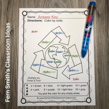 Earth Day Color By Numbers Earth Day Math Multiplication Color By Code