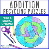 ADDITION Recyling Puzzles | Earth Day Activities, Centers, or Games for Math