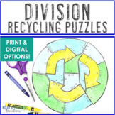 DIVISION Recyling Puzzles | Earth Day Math Activity, Games, Centers, or Stations