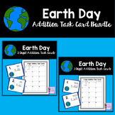 Earth Day Math Activity | No Regrouping Task Card Bundle |