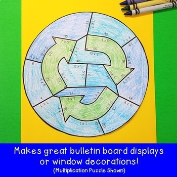 SUBTRACTION Recycling Puzzles | Earth Day Math Activity, Project, or Centers