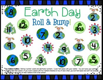 Earth Day Math Center Dice Games