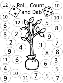 Earth Day Math Center - Roll, Count, Dab