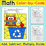 Earth Day Math Color by Code Superhero Owl Recycles - Eart