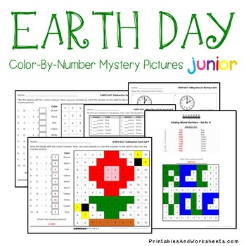Earth Day Math Worksheets - Color By Number Bundle