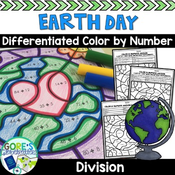 Earth Day Math Color by Number Differentiated Division TpT