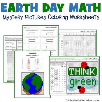 Earth Day Math Centers/Activities - Mystery Picture Worksheets Bundle