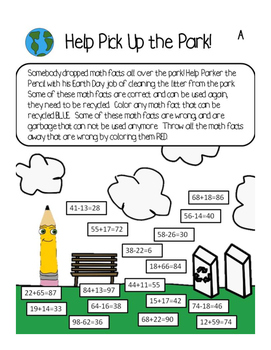 Earth Day - Math Facts Park Pick Up