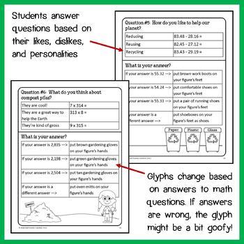 Earth Day Math Goofy Glyph (5th grade Common Core)