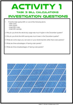 Earth Day Math Investigation: Solar Panels