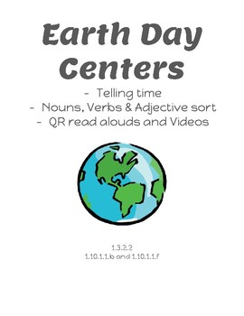 Earth Day Math & Literacy Center with QR codes